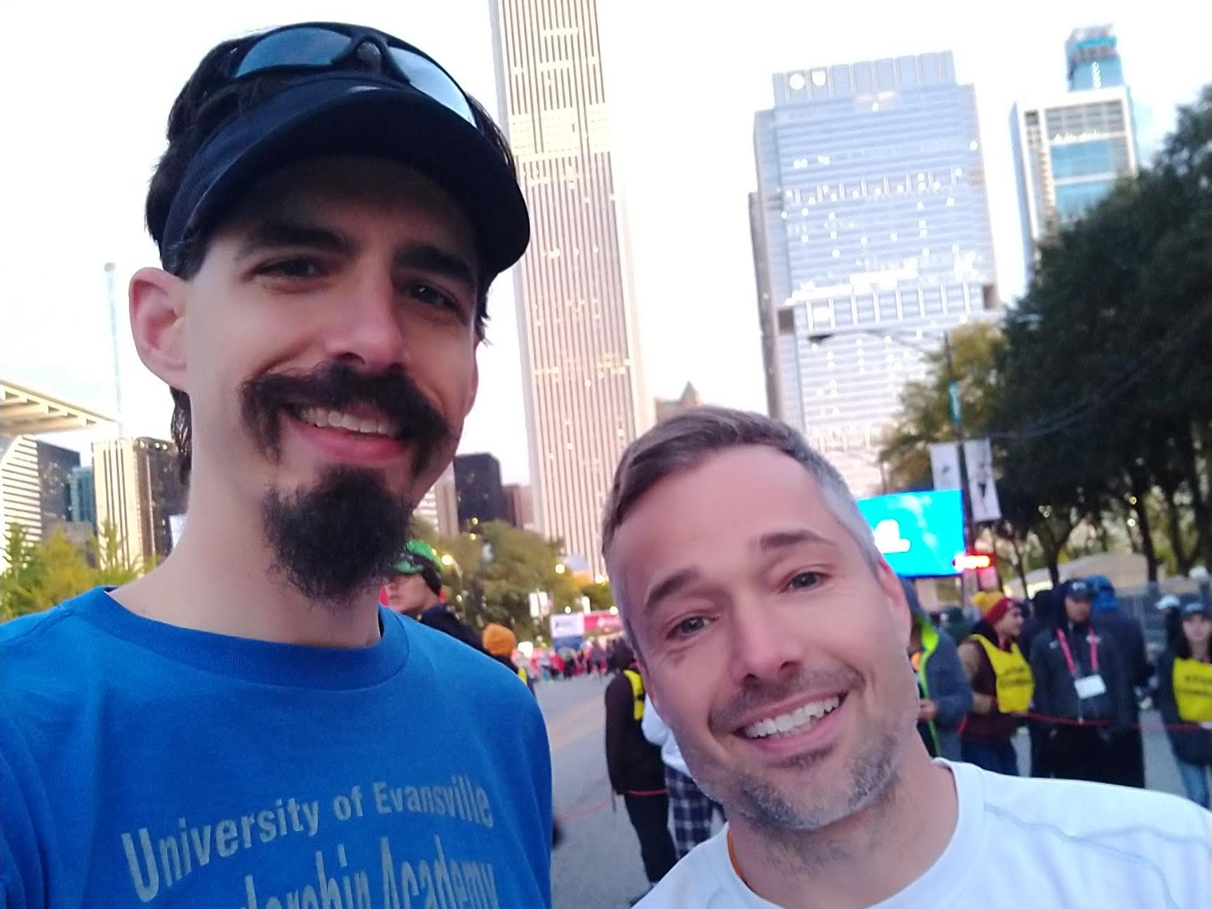 David and Jay in Corral B, ready for the start of the 2019 Chicago Marathon