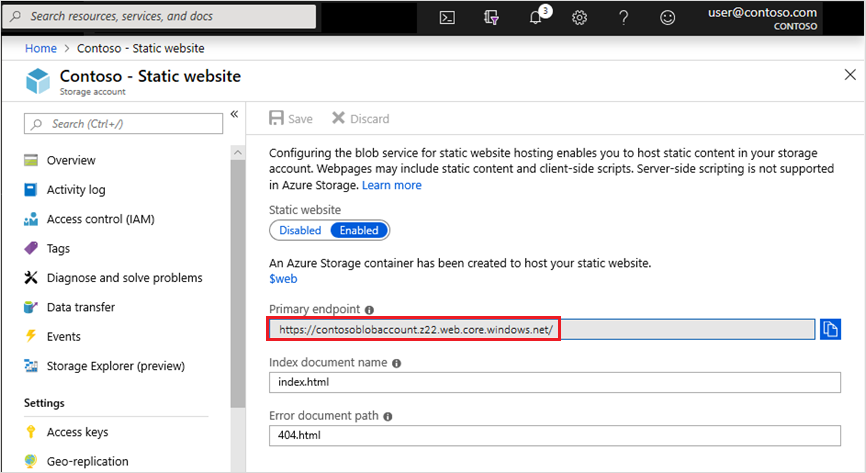 Static Website in Azure Storage URL